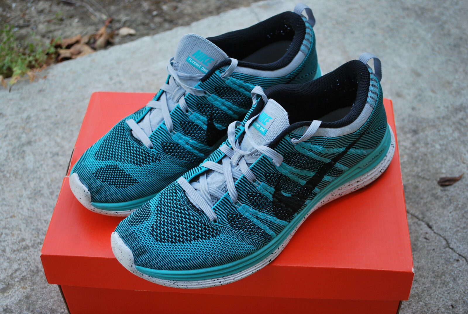 USED NIKE 554887-301 FLYKNIT ONE+ SPORT TURQUOISE/BLACK/WOLF 554887-301 NIKE - SIZE 10.5 3a5f7c