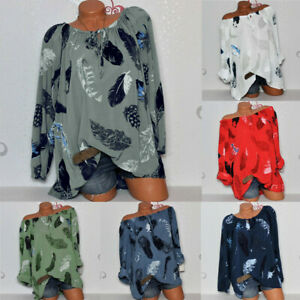Women-Casual-Cold-Off-Shoulder-Feather-Print-Long-Sleeve-Tops-Loose-Shirt-Blouse