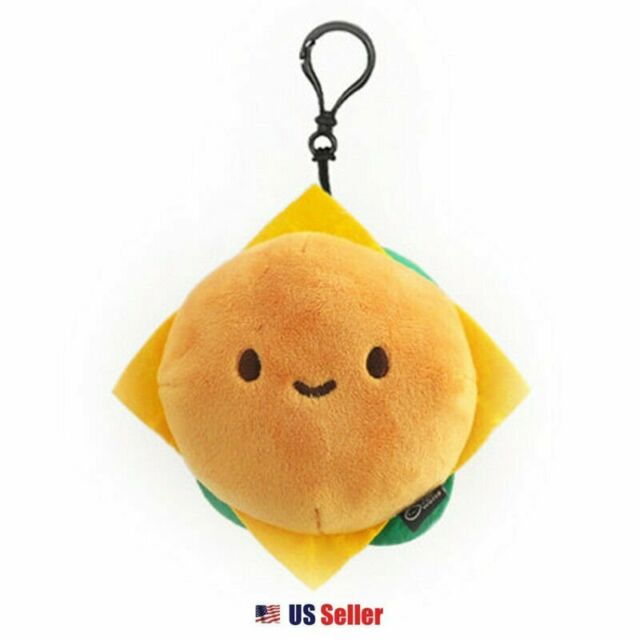 "Cotton Food Plush Toy 4/"" Keychain Clé Accessoire Charm-Hamburger"