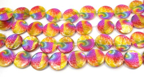 20mm Colorful Peacock Feather Mother Of Pearl Disc MOP Beads 15.5/""