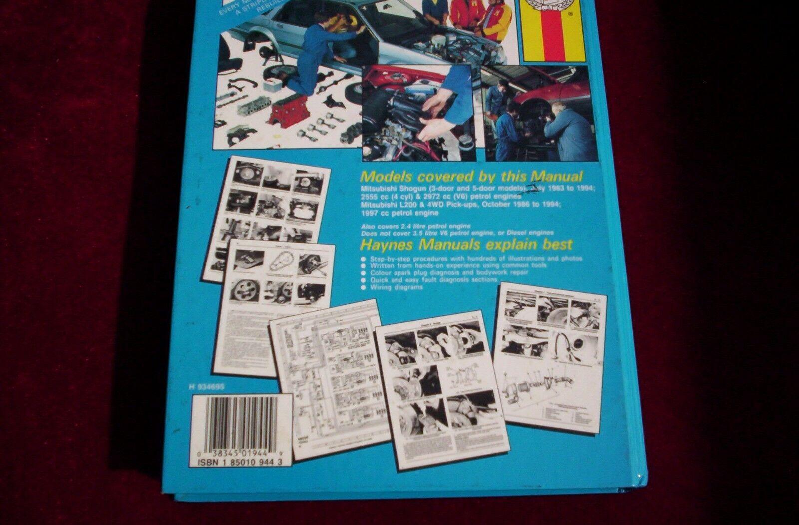 Haynes Manual 1944 For Mitsubishi Shoguninc L200 Pick Up 83 94 1986 Wiring Diagram Petrol Ebay