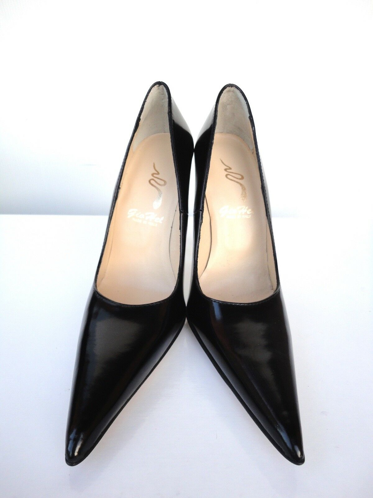 GIOHEL ITALY HIGH HEELS POINTY POINTY POINTY TOE PUMPS SCHUHE LEATHER DECOLTE BLACK SCHWARZ 44 cfd8c4