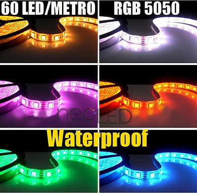 Striscia LED Strip 5 metri 5050 IP65 EPISTAR Alta Luminosità 300x3 900 LED RGB!