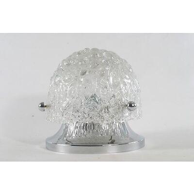 Hillebrand 70er Design Chrom Glas Deckenleuchte Lampe