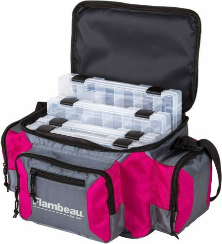 Flambeau Graphite 400 PINK Fishing Tackle Box Bag Storage w// 4 Tuff Tainers