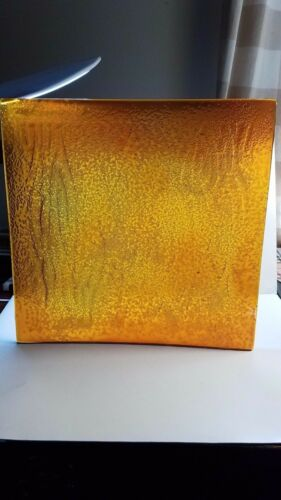 ARTISTIC ART DECO STAIN GLASS TILE ARCHITECTURAL SLAB AMBER PRESSED TEXTURED 14/""