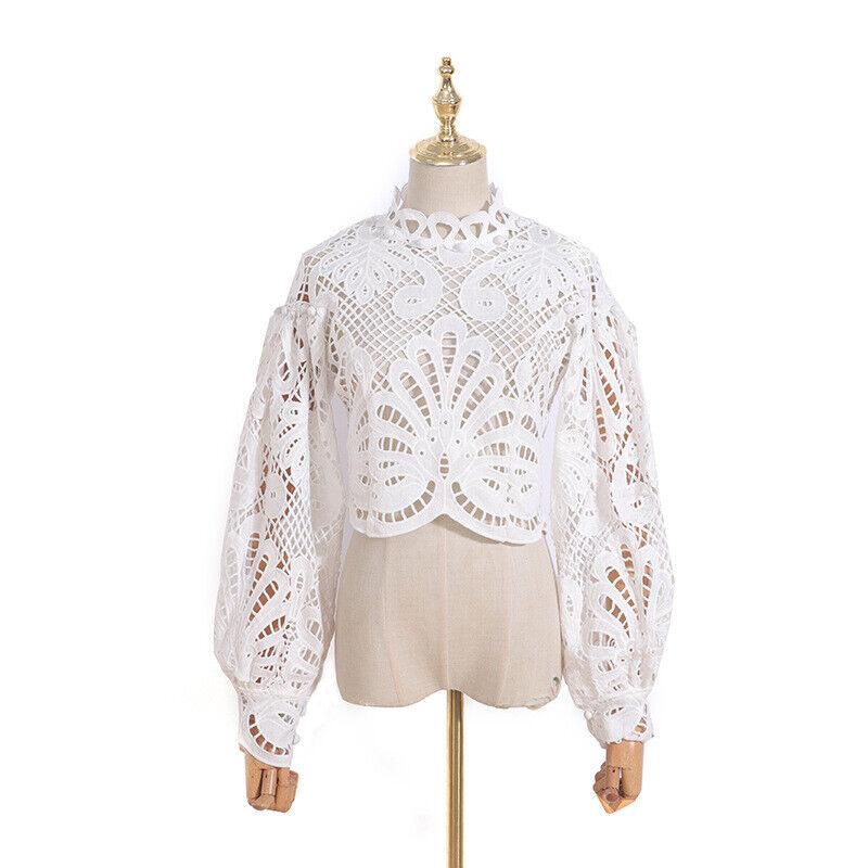 2020 Femme Designer Inspired Crochet Col Haut Crop Chemisier Shirt Top