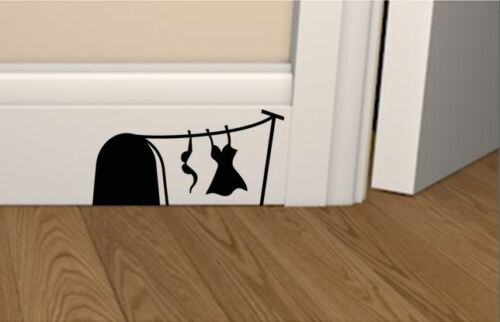 laptop Mouse hole with Bra /& Dress skirting board vinyl wall art, sticker