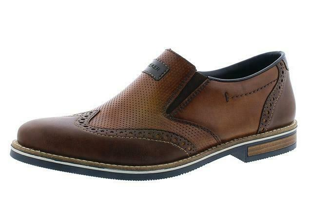 Rieker 13560-25 Mens Wide braun Leather Slip On Loafers