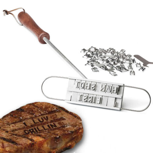 Steak Meat Barbecue BBQ Branding Iron Changeable Letters BBQ Tool 55 Letters