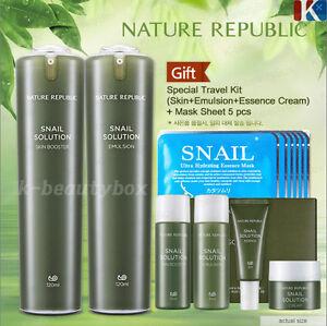 NATURE-REPUBLIC-Snail-Solution-Skin-Booster-Emulsion-Special-Kit-Mask-Sheet