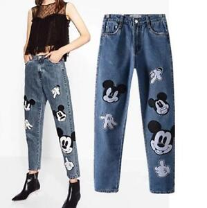 Vintage-High-Waist-Womens-Jeans-Cute-Mickey-Mouse-Embroidery-Fashion-Pants-Blue