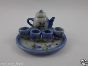 Vintage China Tea Set Tea Cup Pot Miniature DollsHouse Collection Porcelain 1set