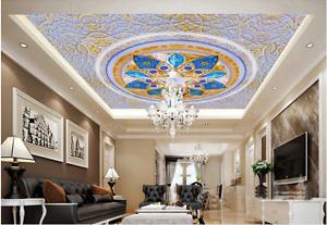 3D bluee Petal 854 Ceiling WallPaper Murals Wall Print Decal Deco AJ WALLPAPER