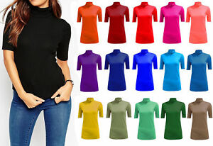 Women-039-s-Ladies-Plain-Polo-Turtle-Neck-Top-Casual-Short-Sleeves-Stretch-Size-8-26