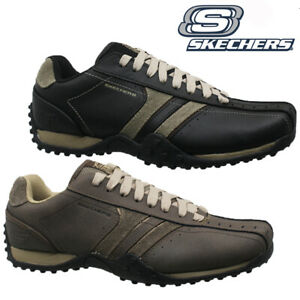mens skechers leather comfort casual fashion walking ankle