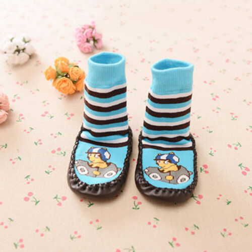 Baby Kids Toddler Warm Non-Slip Socks Moccasin Sleepers Shoes Feet Leather Soled