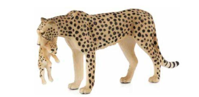 Mojo 387167 Gepardenweibchen con Joven 12cm Animales Salvajes