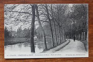 Tarjeta-Postal-Antigua-Chatillon-Sur-Seine-promenade-de-La-Douix-Bords-De-Seine