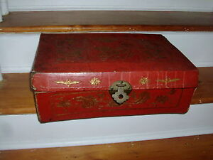 Chinese collection of antique old wood red dragon and phoenix leather box#1