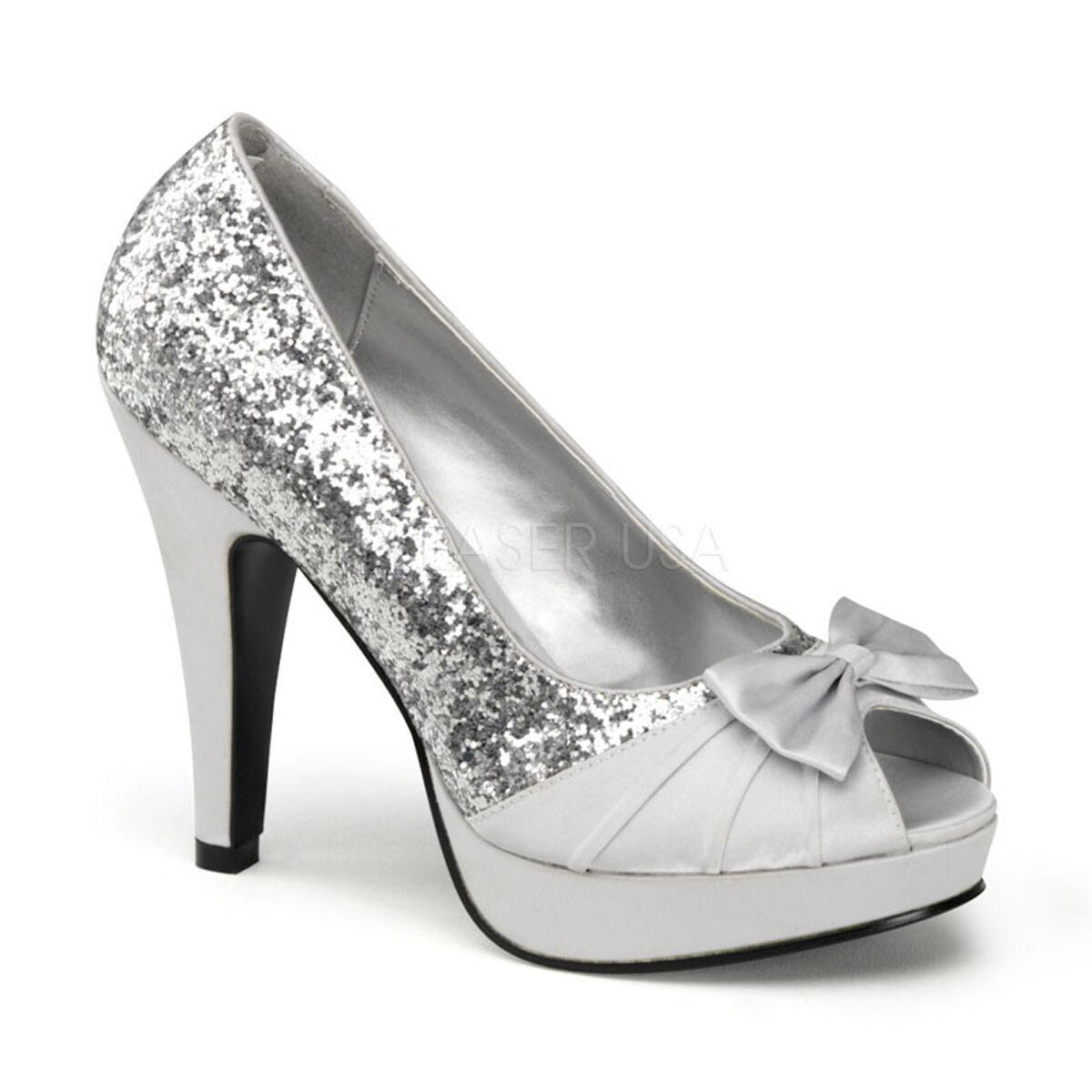 PINUP Sexy Silver Glitter Satin Peep Toe Evening Party Heels Schuhes BETT10/SG-SA