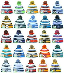 NEW-ERA-2019-All-32-NFL-TEAMS-Sideline-Beanie-Winter-Pom-Knit-Cap-Hat-034-50-OFF-034