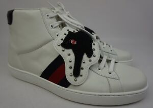 9a6ee57e0cf Gucci Ace Removable Patch Sneaker Panther High Tops White Shoes Size ...