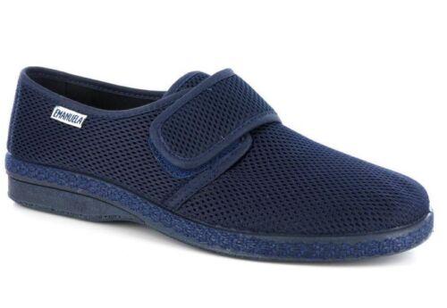 Emanuela 5254 C Bleu Chaussures Homme Été Chaussons Velcro Bas Antidérapant
