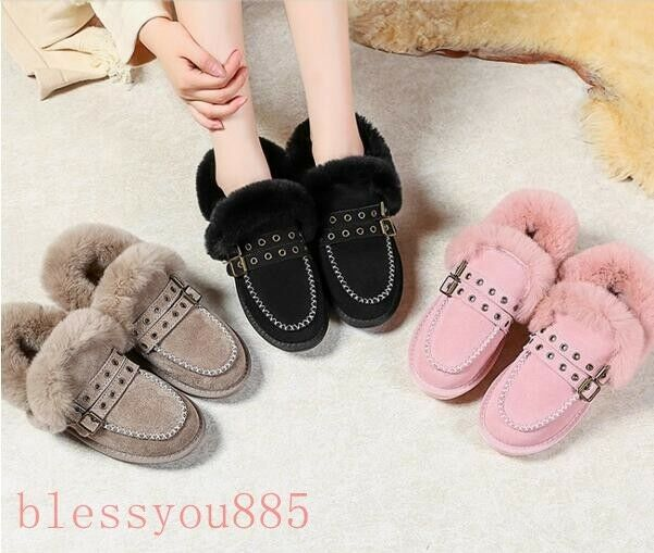 Women's Suede Leather Fluffy Rabbit fur Warm Slip On shoes Ankle Boots Loafers