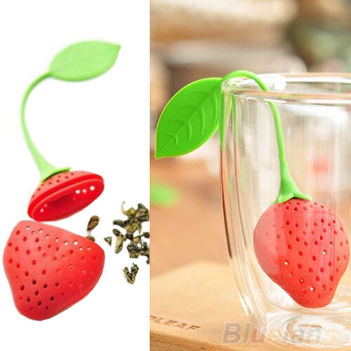 Adorable Strawberry Silicon Tea Leaf Filter Strainer Herbal Spice Infuser BE2A