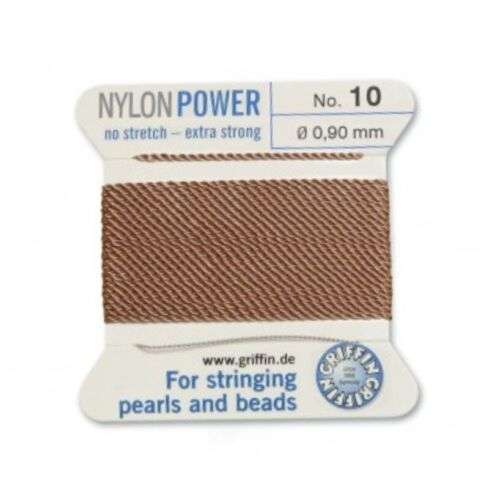 BEIGE NYLON POWER SILKY THREAD 0.90mm STRINGING PEARLS /& BEADS GRIFFIN 10