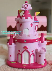 Pink Princess Castle Money Coin Piggy Bank Box Great Gift