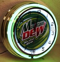 18 Mountain Dew Do The Dew Sign Double Neon Clock