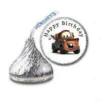 216 Cars Tow Mater Hershey's Kiss Candy Birthday Sticker Labels - Party Favors