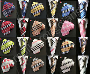 Classic-Checks-Mens-JACQUARD-WOVEN-Silk-Tie-Necktie-Wedding-Party-best-man-gift