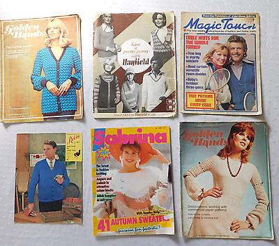 6 old knitting pattern magazines vintage 1960s 1970s 1980s Golden Hands Sabrina