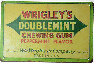 "Wrigley/'s Chewing Gum Mint Candy Confectionery Retro Metal Tin Sign 12x8/"" NEW"