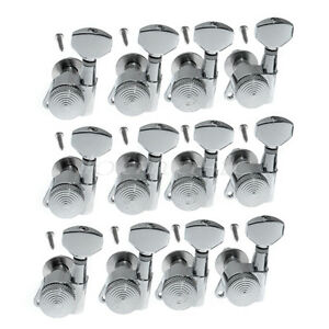 12pcs left handed chrome guitar string tuning pegs locking tuners machine heads ebay. Black Bedroom Furniture Sets. Home Design Ideas