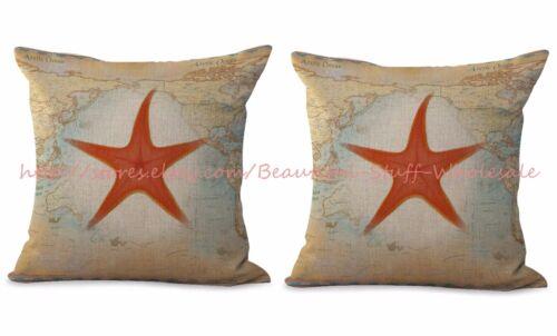 2pcs cheap throw pillow starfish sea star cushion cover map marine