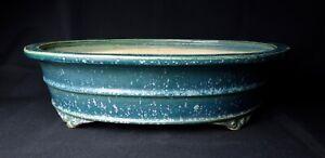 Tokoname-Bonsai-Pot-Shuhou-Vintage-Beautiful-Glazed-Oval-Cloud-Feet-Large