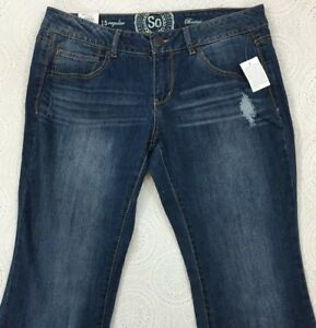 fd9ee4cfb9b So Women's Distressed Bootcut Blue Jeans Size 15 Regular Mid-Rise ...