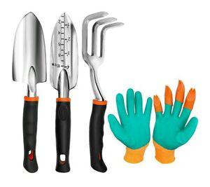 Gardening Tool Set Heavy Duty Aluminum 4 Pieces Trowel Rake Shovel Gloves Gift