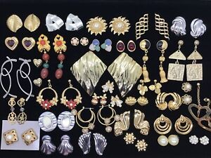 Vtg Estate 34 Pierced Earring Lot Retired Avon Enamel Rhinestone Gold Silver