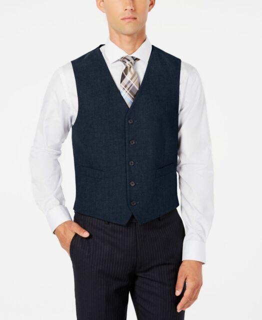 Ryan Seacrest Distinction Mens Vest Blue Size Large L Modern Fit $125 #233