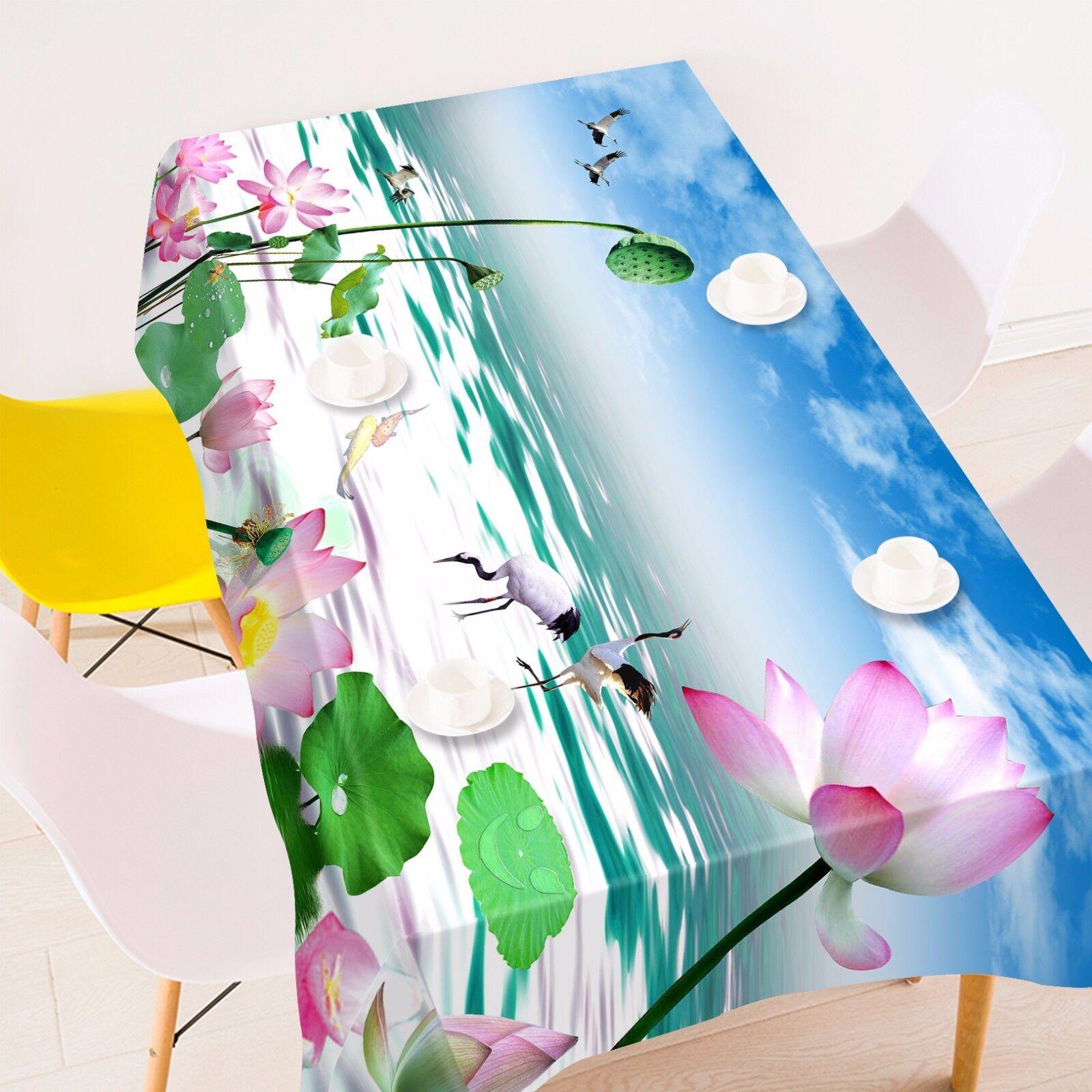 Graines 3D Lotus Nappe Table Cover Cloth fête d'anniversaire AJ papier peint UK Citron