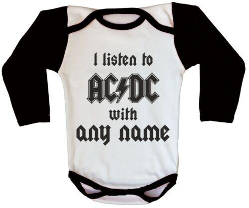 AC DC Logo Rock Baby Body personnalisé métal nouveau-né Personnalisé Grow Ange