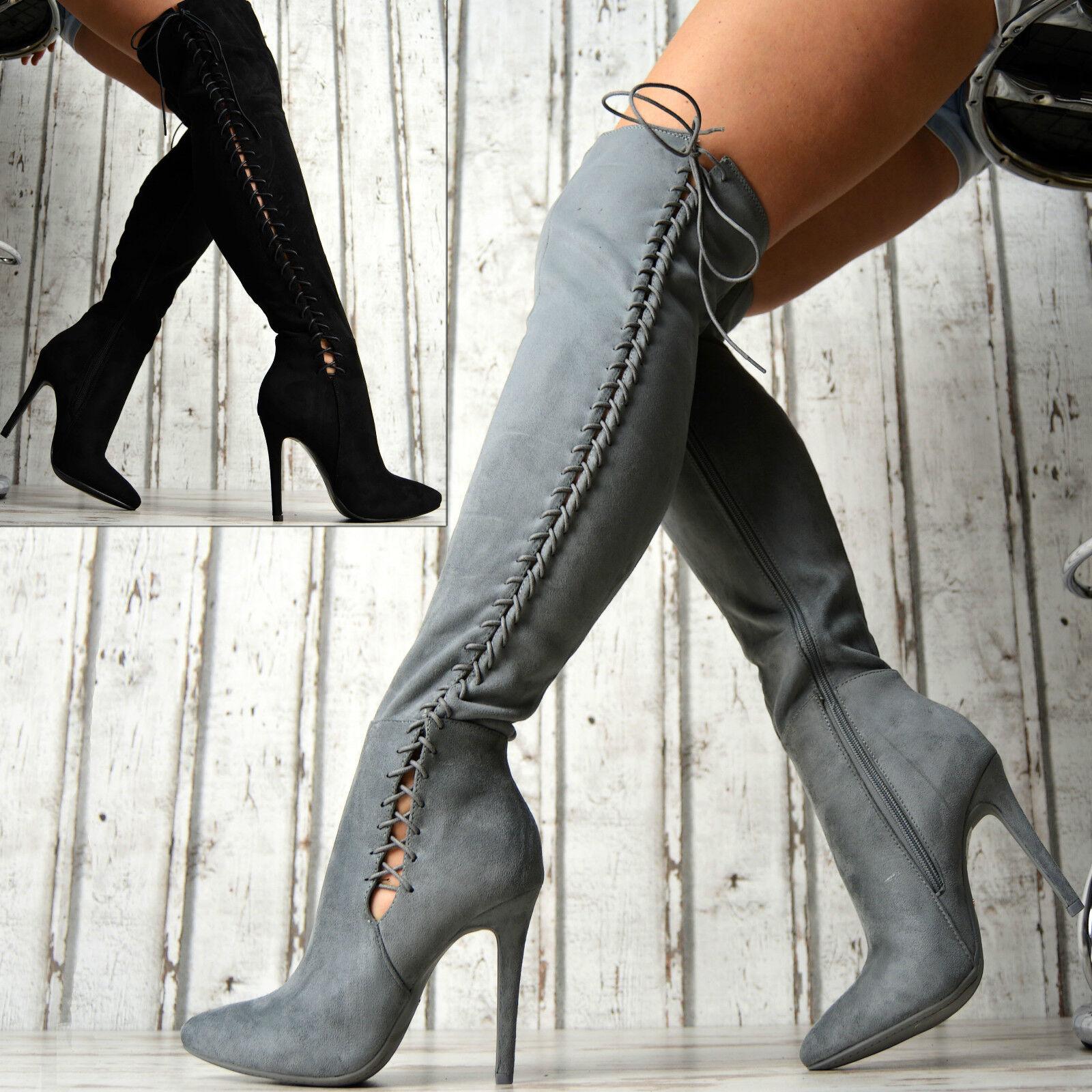 Neu SeXy LuXus Overknee Stiefel Damenschuhe Party Korsett Boots High Heels D09