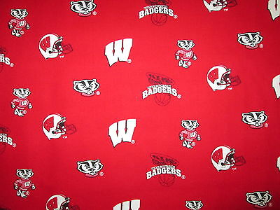 WISCONSIN BADGERS LOGO CHECKED RED WHITE LICENSED COTTON FABRIC BTHY