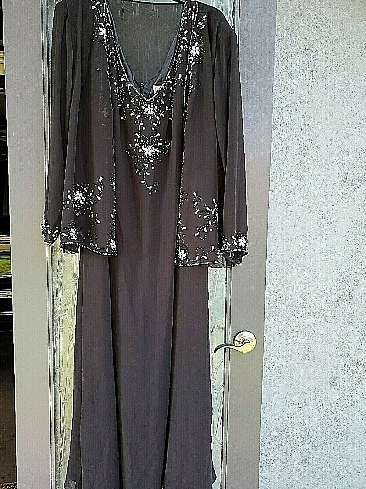 May Queen Couture Womens' Plus Size Black Beaded Chiffon Dress & Jacket Set