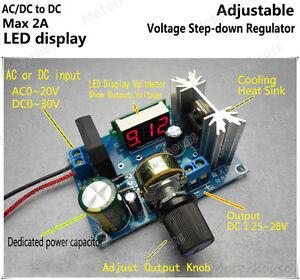 LED Display Adjustable Voltage Regulator Step-Down Module AC/DC to DC 5V 6V 12V